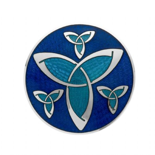 Celtic Trinity Knots Brooch Blue Silver Plated Brand New Gift Packaging